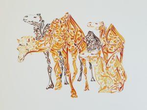 Camellos - Diseño de Hicham Chajai con caligrafía árabe