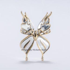 Mariposa de Oro - Diseño de Hicham Chajai con caligrafía árabe